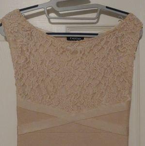 Bebe Nude Champagne Lace Bodycon Dress small/xs